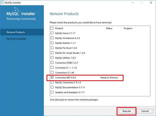 Connector/NET 6.9.9 の Remove